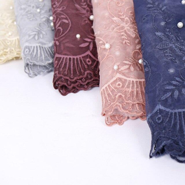 Однотонный цветной кружевной шарф с жемчужинами мусульманская