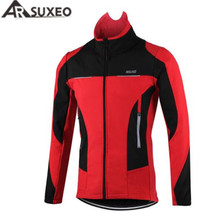 ARSUXEO Men Fleece Thermal Cycling Jacket Autumn Winter Warm Up Bicycle Clothing Windproof Windbreaker Coat MTB Bike Jerseys wosawe winter cycling jacket fleece thermal warm up bicycle clothing windproof windbreaker water resistance reflective jacket