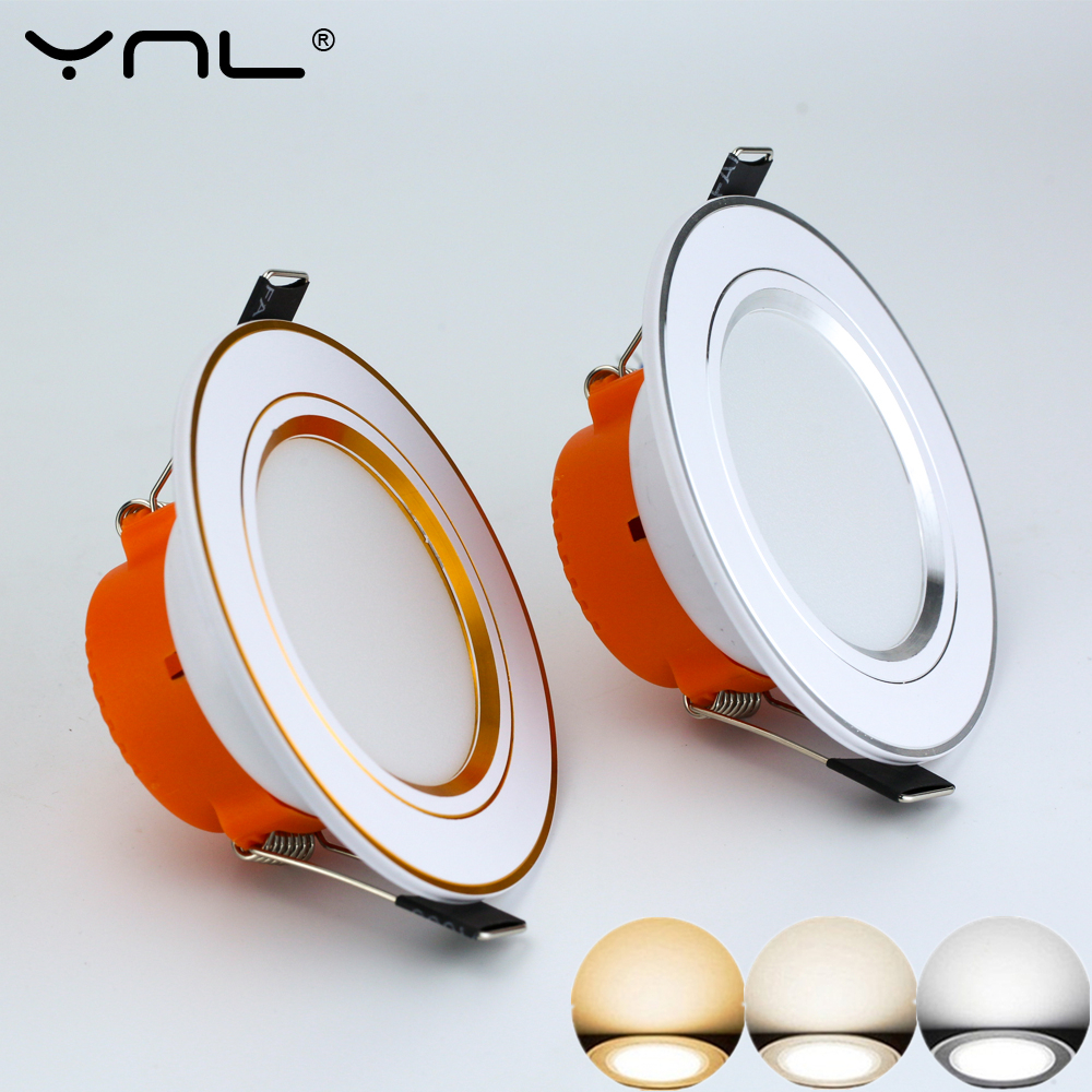 YNL 4pcs 3W LED Downlight Ceiling lamp Recessed Down light With Driver Changeable 3-Color Change Warm White Nature White Cool W ...