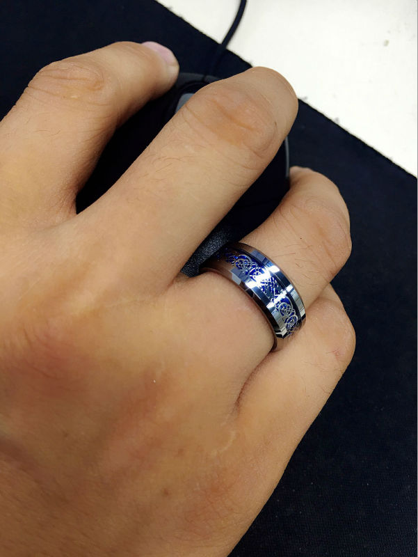 8mm Blue Silvering Celtic Dragon Tungsten Carbide Ring Mens Jewelry