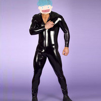 Hot Sale Sexy Men Latex Catsuit Faux Leather Bondage Bodysuit Leotard Unitard Fetish Costumes Erotic Lingerie Plus Size