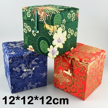 Cube Tall Silk Brocade Wood Gift Boxes for Jade Stone Trinket Crafts Packaging Case Cotton Filled Cloth Storage Box 12x12x12 cm цена