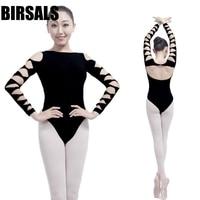 Sexy Backless Adult Girl Black 3 4 Long Sleeve Ballet Dance Practice Leotard CS0327 Cotton Gymnastic