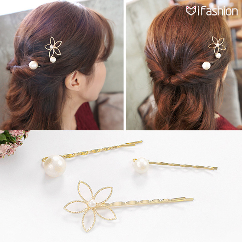 M MISM 3pcs/lot Fashion flower Gold-plated Hair Accessories Simulated Pearl Hair Clip Wedding Tiara Hairpins Hair for woman 00009 red gold bride wedding hair tiaras ancient chinese empress hair piece