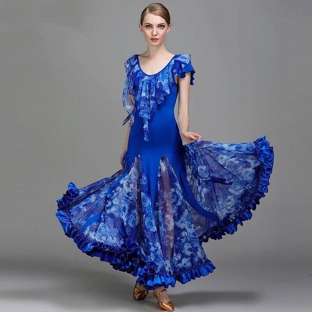 San Francisco 0f9a2 b80b5 US $76.96  Blu standard del vestito ballroom dance abiti da ballo valzer  abiti per il ballo liscio vestito flamenco danza moderna costumi di ballo  di ...