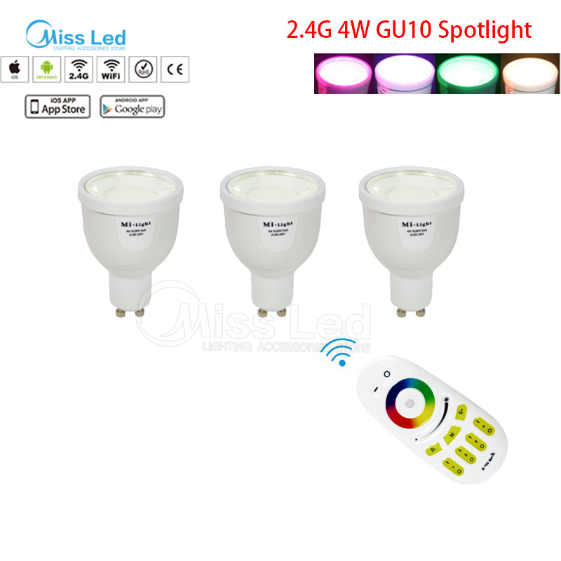 1X2.4G RF télécommande sans fil + 3x Mi lumière 4 w GU10 ampoule RGBW (RGB + blanc/blanc chaud) changement de couleur/luminosité lampe sans fil dimmable