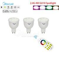 1X 2 4G RF Wireless Remote 3x Mi Light 4w GU10 Bulb RGBW RGB White Warm