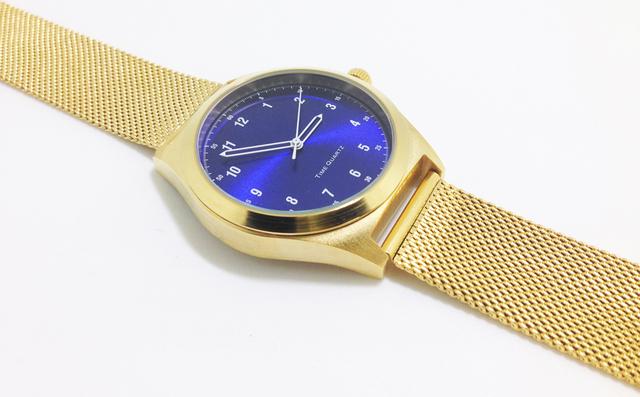 IP Ouro Relógios Azul Rosto Banda de Malha de Aço