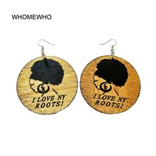 WHOMEWHO Tribal Brown Wood Africa Black Queen I Love My Roots Letters Vintage Earrings Wooden African Bohemia Afro Ear Jewelry