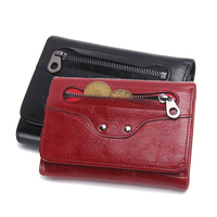 Cow Leather Wallet For Men Solid Card Holder Purse With Photo Slot 3 Fold Genuine Leather