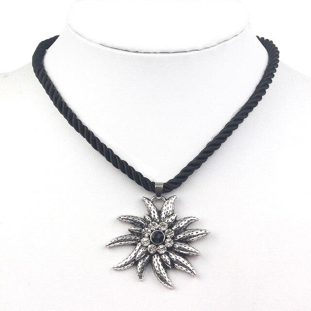 Sehuoran Fashion Choker Necklace Crystal Vintage Ketting Choker Necklace  Flower Pendants Jewelry