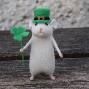 Image 2 - 2019 女性素敵なマウスマウス手作り動物のおもちゃの人形ウール針フェルトつついキッティング DIY ウールキットパッケージ不完成