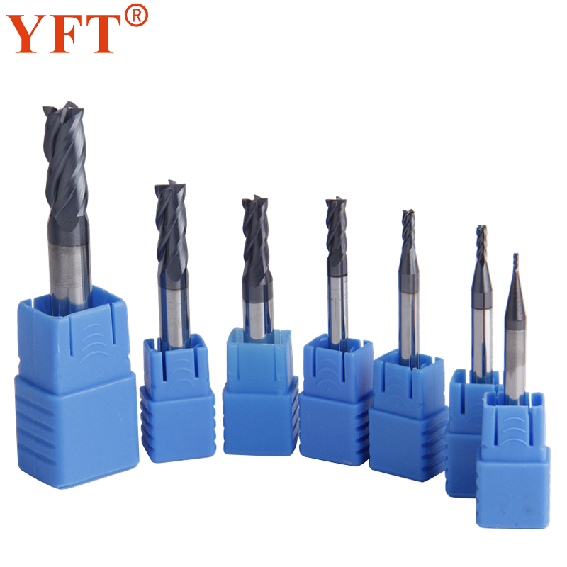 YFT 7Pcs Tungsten Carbide End Mill 4 Flutes Milling Cutter HRC45 Diameter 1-8mm CNC Router Bit Set Tools yft 4pcs tungsten carbide end mill diameter 6 8 10 12mm router bit 4 blade tungsten steel milling cutter 45 hrc cnc tools