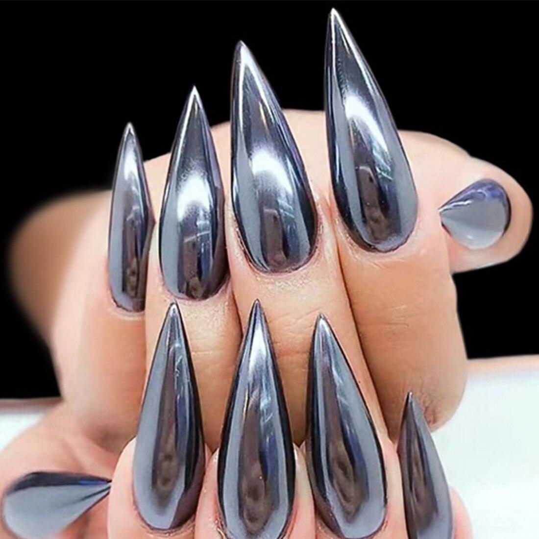 1 Gr/schachtel Super Magische Schwarze Spiegel Nagel Glitter Dazzling Glänzende Pulver Chrom Pigment Shiny Staub Pailletten Nail Art Dekorationen