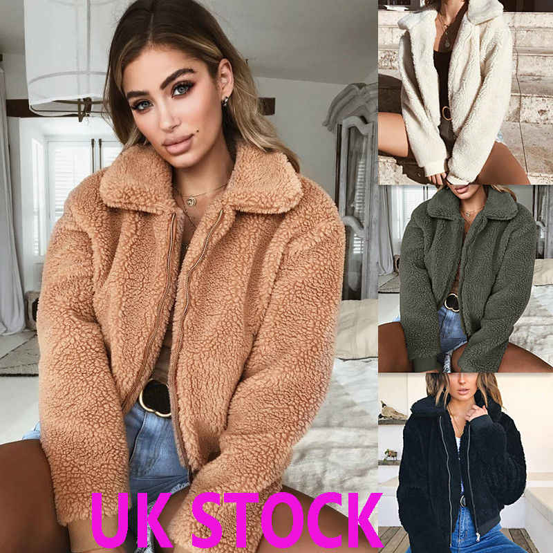 Hot Winter Damen Dicke Warme Teddy Bär Tasche Fleece Jacke Mantel Zip Up Outwear Mantel
