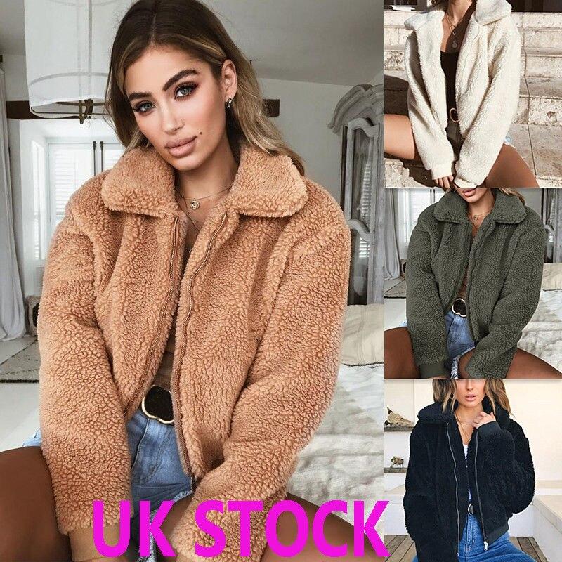 Hot Winter Womens Thick Warm Teddy Bear Pocket Fleece Jacket Coat Zip Up Outwear Overcoat