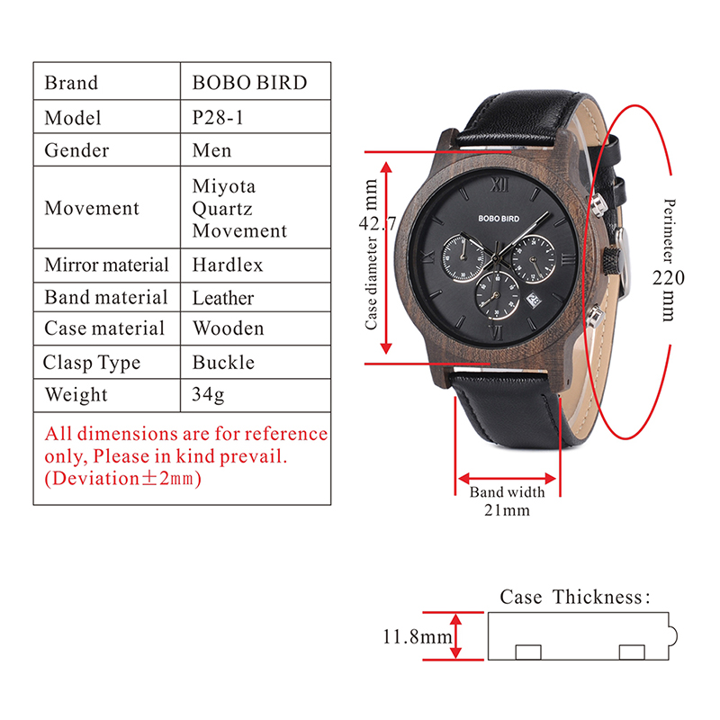 BOBO BIRD Mens Luxury Wood Watches Clock Functional Stop Chronograph saat with Date Display relogio masculino Timepieces C-P28 (9)