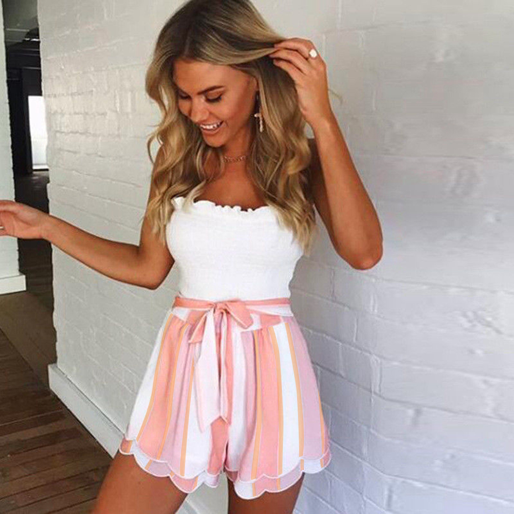 Summer Ruffle Striped   Shorts   Women Fashion High Waist Belted Bow Tie Loose   Shorts   Casual Pink Blue Ladies Boho   Short   Femme