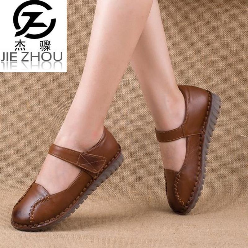 Fashion women's Shoes Flats Gray, black, brown Genuine leather round head soft bottom Anti-skid  elderly shoes damen schuhe