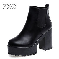 New Fashion Women Boots Square Heel Platforms Ankle Boots PU Leather Thigh High Pump Boots Motorcycle