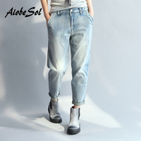 2017 Summer Autumn Women Light Blue Jeans Lady Preppy Vintage Thin Ankle Length Denim Pants Plus