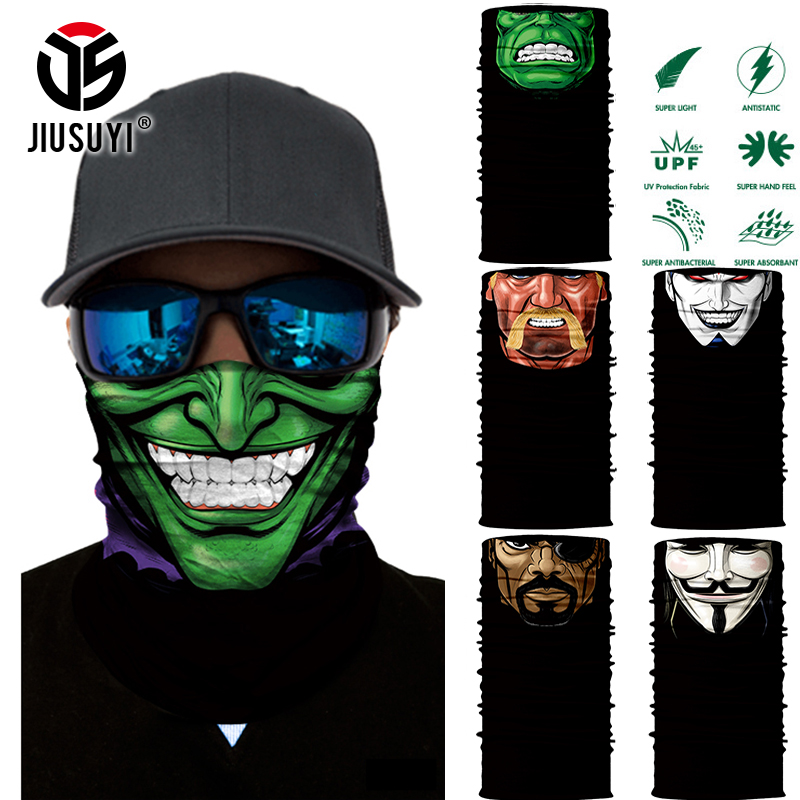 3D Seamless Multifunction Magic Comic Characters Tubular Skull Shield Face Mask Headband Bandana Headwear Ring Head Scarf Men