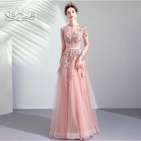QSYYE 2019 Pink Long Prom Dresses Robe de Soiree Lace Beaded High Neck Long Sleeves Floor Length Tulle Evening Dress Party Gown