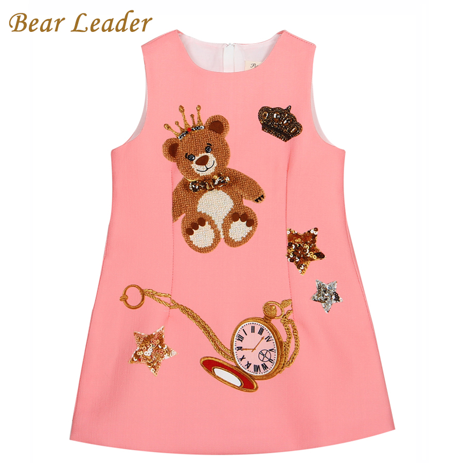 Подробнее о Bear Leader Girls Dress 2016 Brand Princess Dresses Girls Clothes Sleeveless Pink Little Bear Pattern Print for Kids Dress 3-8Y bear leader girl dresses 2016 brand girls costumes princess dress kids clothes sleeveless bow plaid pattern girls dress children