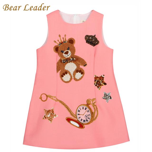Líder urso Meninas 2016 Marca do Vestido de Vestidos de Princesa Meninas Roupas Sem Mangas Rosa Little Bear Padrão de Impressão para As Crianças Vestido 3-8A
