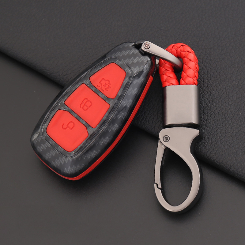 Carbon Fiber Silicone Car Key Smart Remote Key Case Cover for Ford Fiesta Focus 3 4 MK3 MK4 Mondeo Ecosport Kuga Focus ST 2019