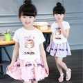 Fashion candy color Girl's clothing set children's sets cotton 2016 baby girl set fashion Cartoon princess t-shirts+skirts sets