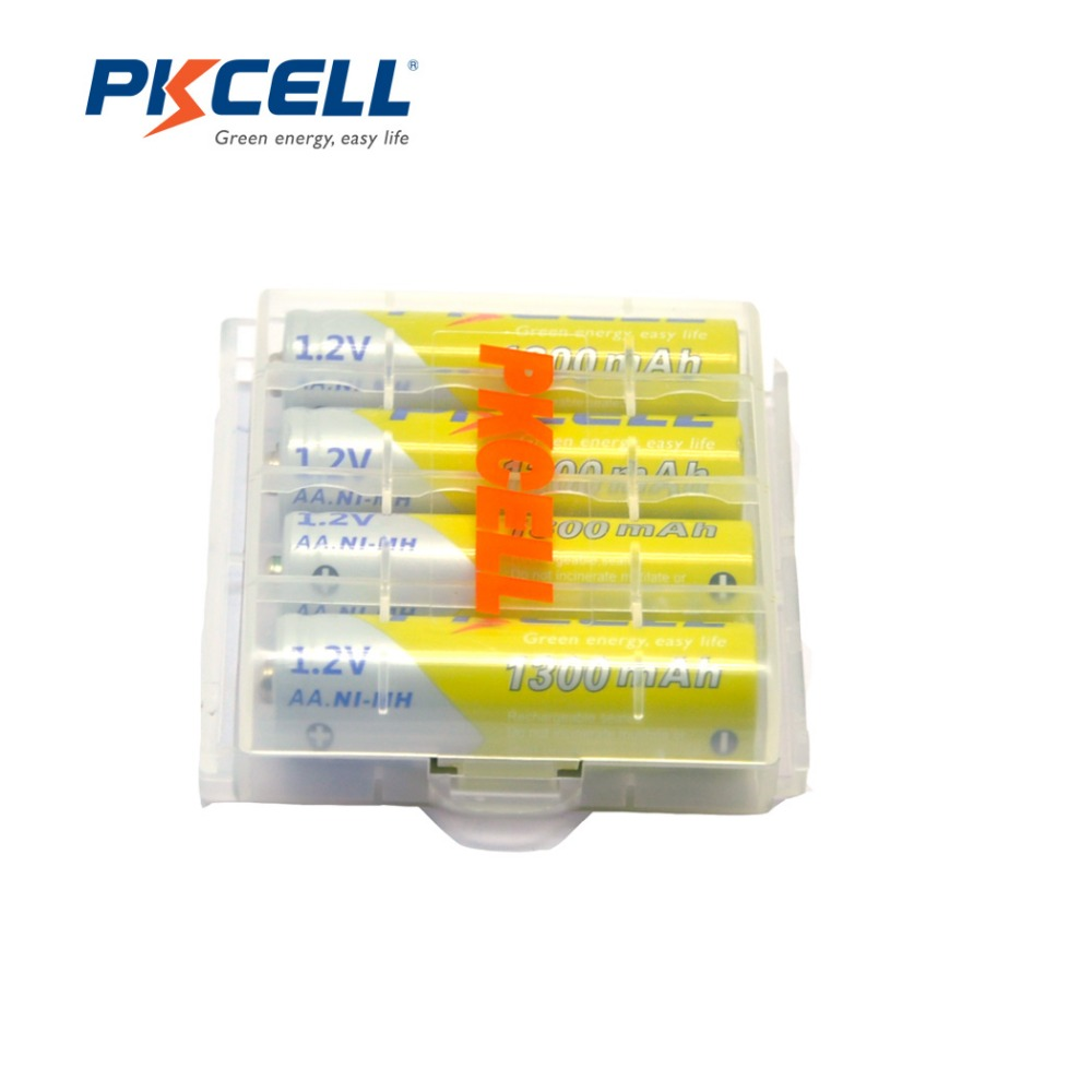4Pcs/PKCELL <font><b>AA</b></font> <font><b>Rechargeable</b></font> <font><b>Battery</b></font> <font><b>AA</b></font> <font><b>1.2V</b></font> Ni-MH 2A <font><b>1300mAh</b></font> <font><b>AA</b></font> <font><b>Batteries</b></font> with 1 <font><b>Battery</b></font> Case Box for DVD Mp3 Digital Camera image