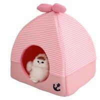 Faltung Hundehütte Pet Bett Decke für Kleine Hunde Heimtierbedarf weiches Warmes Hund Hause Zelt Bett für Kaninchen Rosa Blau 7D20