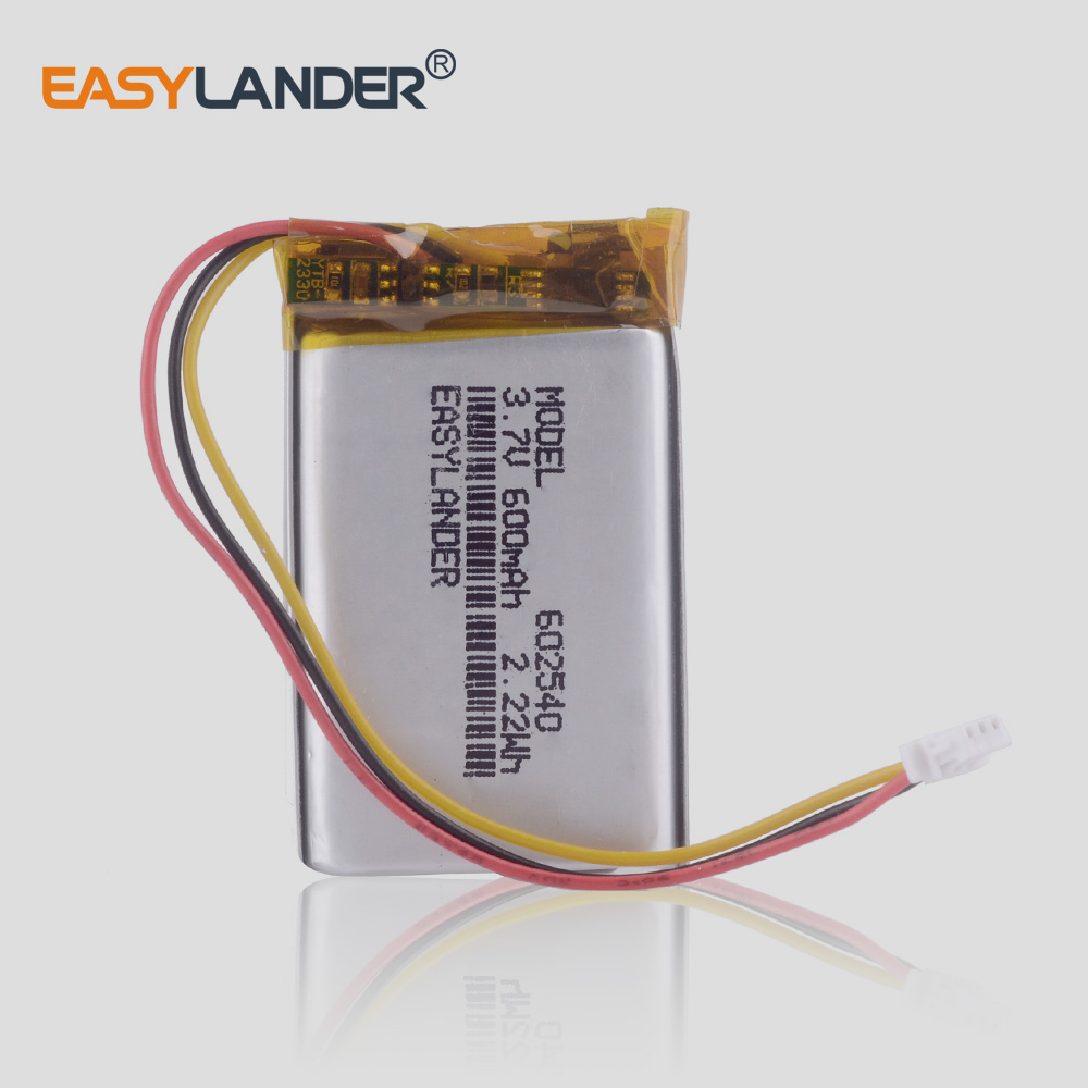 3.7V 600mAh 602540 Polymer Lithium Ion / Li-ion Battery For Dvr Recorder Mp3 Player  Mivue Mio 358