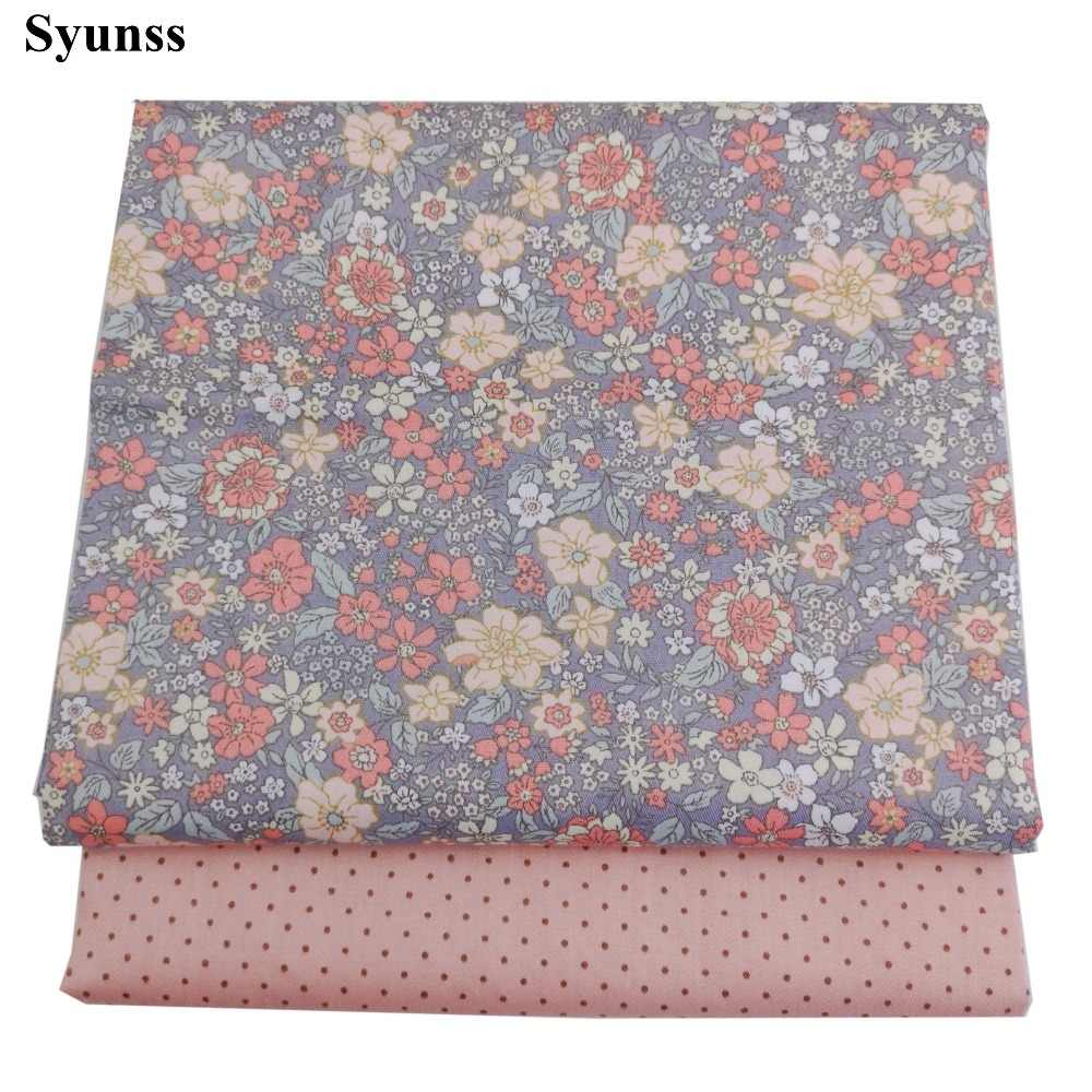 Syunss Diy Patchwork Cloth For Quilting Baby Cribs Cushions Dress Sewing Tissus Floral Dot Printed Twill Cotton Fabric Tecido