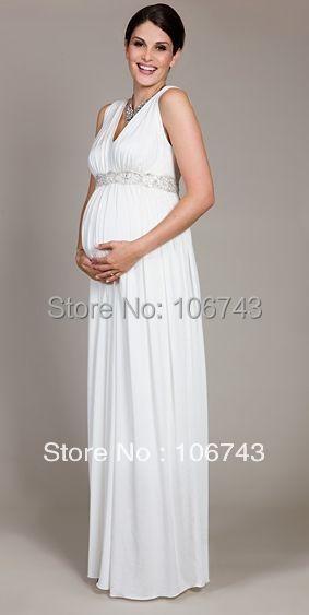 Новый дизайн, хит продаж, шифоновое платье для беременных женщин на заказ, размер/цвет, v-образный вырез, белый цвет, вечернее платье для мате...