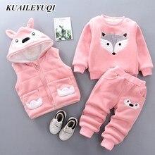 Baby Boys Girls Cartoon clothing sets Winter Warm Vest Coat + Sweatshirt + Pants 3Pcs Infant Kids Children Sports Suit Clothes