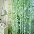 Для романтической загородном занавес пряжи настроить готовой продукции балкон зеленый розовый тюль ткани цветочный дизайн sheer панели