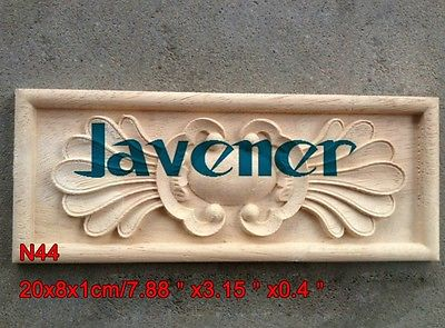N44 -20x8x1cm Wood Carved Long Square Applique Flower Frame Door Decal Working Carpenter