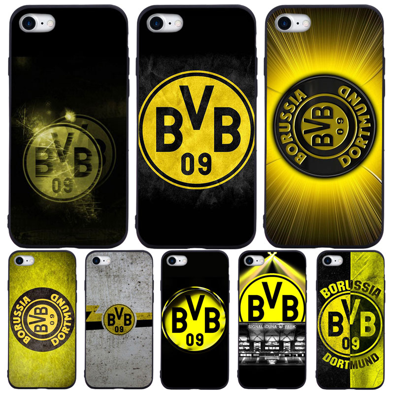 Zzxxzz Football Borussia Dortmund Logo Phone Case For Iphone 7 8 Plus Xs Max Xr Case For Iphone X 8 7 6 Plus Se Soft Tpu Cover Half Wrapped Cases Aliexpress