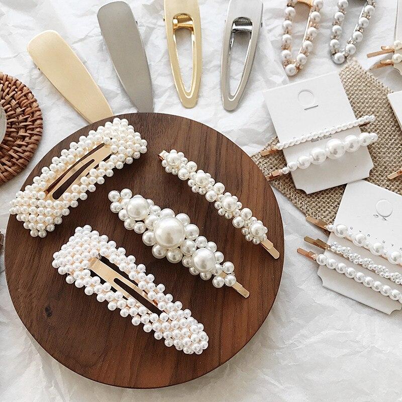2019 New Hair Accessories Imitiation Pearl Hairpins Korean Vintage Hairgrips Foral Geometric Alloy Hair Clips Fashion   Headwear