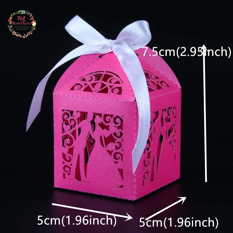 Big Heard Love 50 шт. лазерная резка невесты и жениха Свадебная коробочка для сладостей Подарочная коробка свадебное оформление коробки вечерние поставки - Цвет: dark rosy red