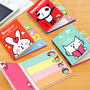 Hot Sale Mini Cute Kawaii Cartoon Panda Cat Rabbit Memo Pad Lovely Girl Post It Note Korean Stationery Gift  Planner Stickers