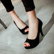2016 summer women a peep toe front sandals platform solid colors thin heels shoes fashion classic sexy Women's Pumps big size