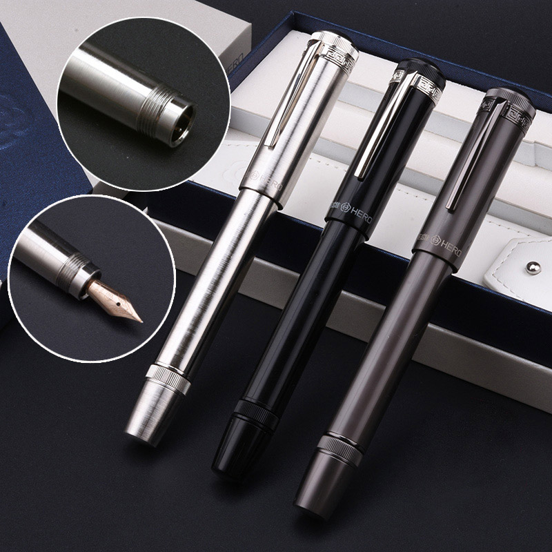 Hero H718 Fountain Pen 10k Gold Nib Rotary Piston Ink Converter Cover Hidden Flexible Nib Business Office Gift Box
