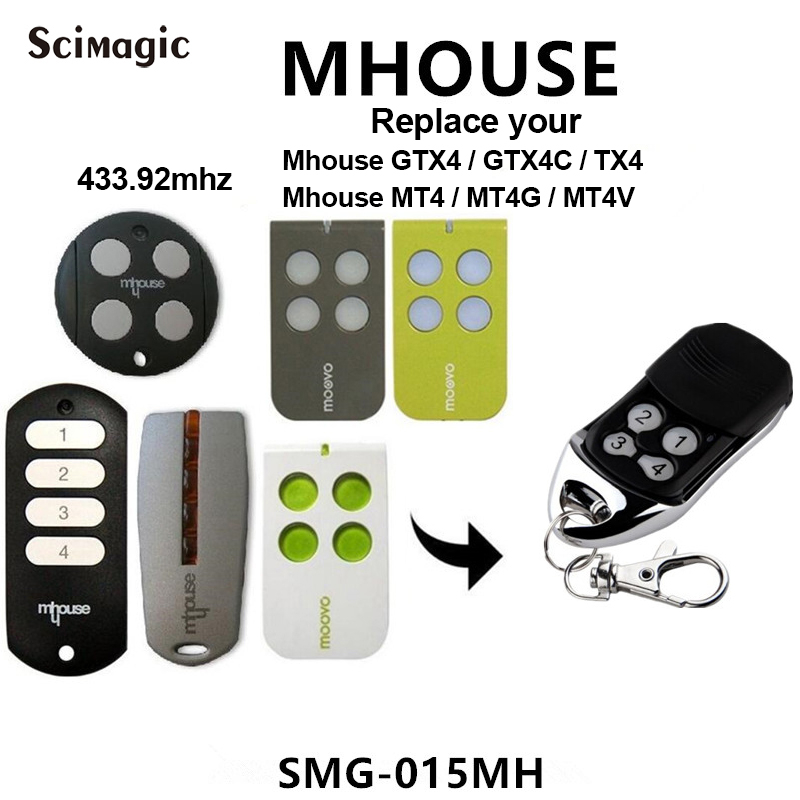 Mhouse GTX4 GTX4C TX4 MT4 MT4G MT4V electric garage gate door remote controls transmitter replacement Rolling Code 433.92mhzMhouse GTX4 GTX4C TX4 MT4 MT4G MT4V electric garage gate door remote controls transmitter replacement Rolling Code 433.92mhz