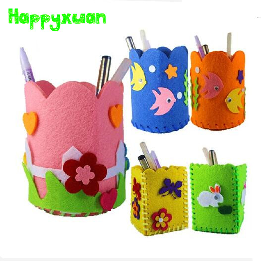 5pcs/lot DIY Handmade Felt Fabric Craft Kits Toys Pen Container for Kids