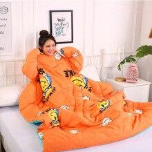 Зимнее «ленивое» одеяло с рукавами для дома, постельные принадлежности, одеяло с принтом Edredom, сохраняющее тепло, семейное одеяло, накидка