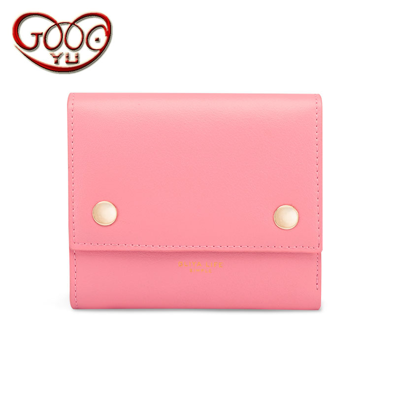New envelope shape design candy color short paragraph women wallet hand holding leather embossed cross section 3 fold zero purse