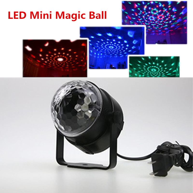 110v 220v Voice control LED Mini Crystal Rotating RGB LED Stage Lights for KTV Xmas Party Wedding Show Pub Disco Ball Effect